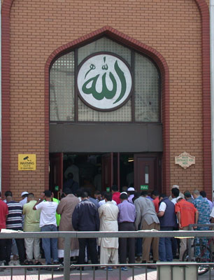 People outside mosque